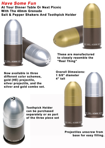 Grenade salt and pepper shakers
